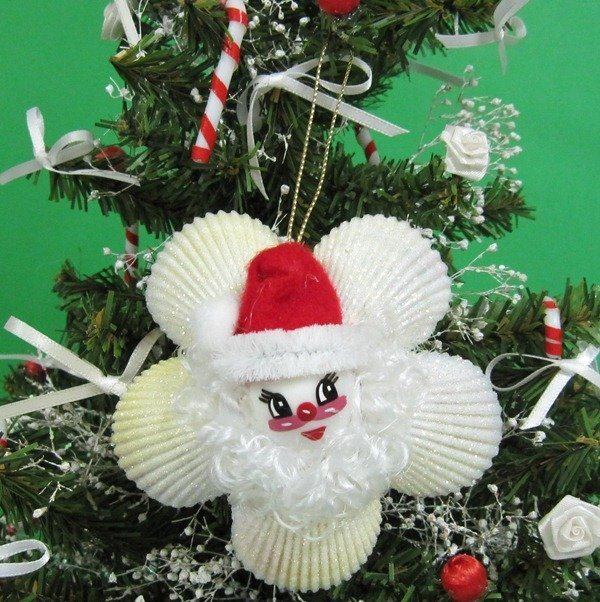 Bulk Christmas Ornaments.3 1 4 Inches Cockle Shell Wreath With Santa Face Seashell Christmas Ornaments In Bulk Pack Of 5 2 33 Each