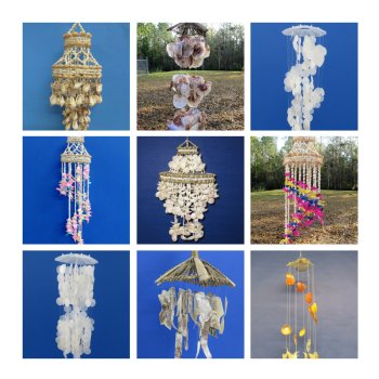 Shell Chimes Seashell Hanging Planters Baskets And Shell Chandeliers